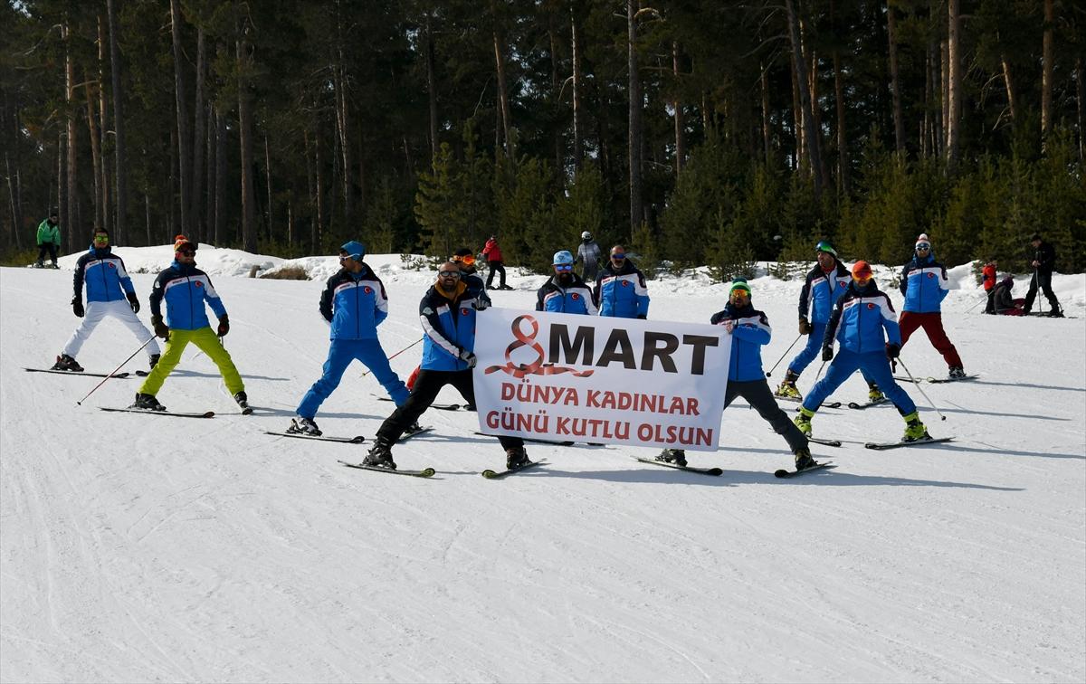 8 Mart Dünya Kadınlar Günü için Cıbıltepe'de kayak gösterisi yapıldı