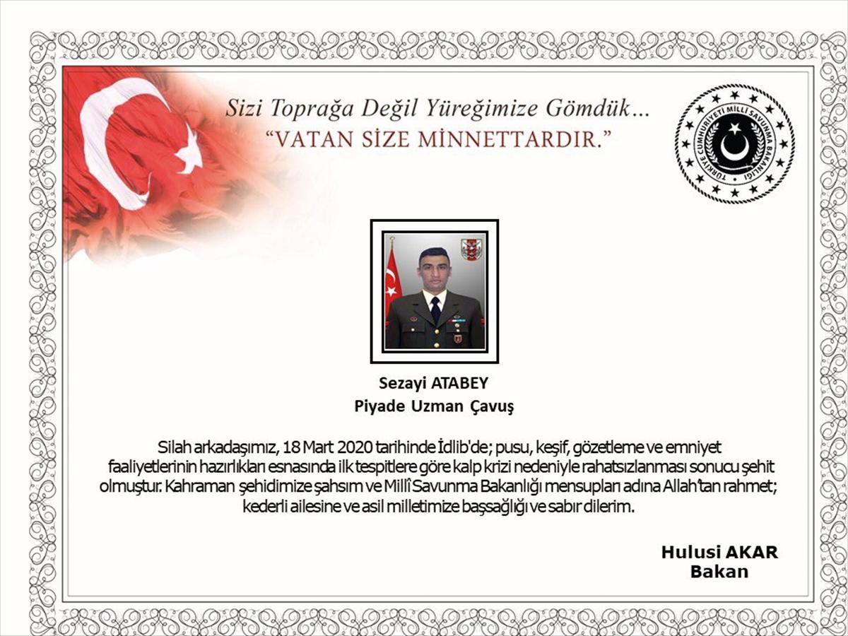 Milli Savunma Bakanı Akar'dan şehit asker için başsağlığı mesajı