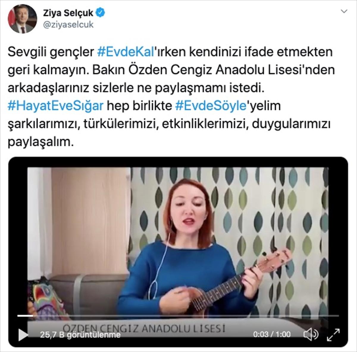 """Milli Eğitim Bakanı Selçuk'tan gençlere """"hayat eve sığar"""" çağrısı"""