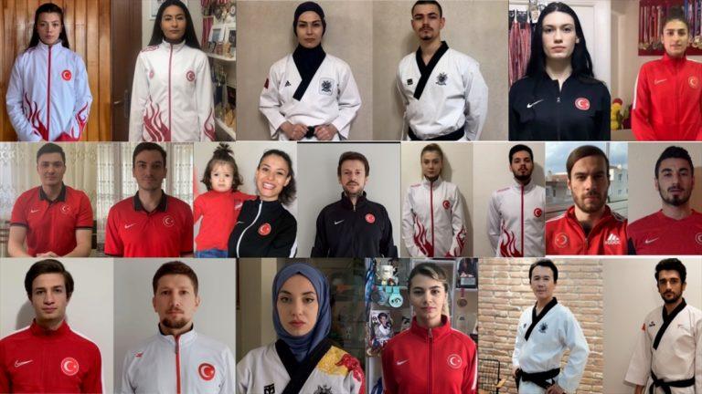 """Tekvando Milli Takımı sporcularından hazırladıkları videoyla """"Evde kal"""" çağrısı"""