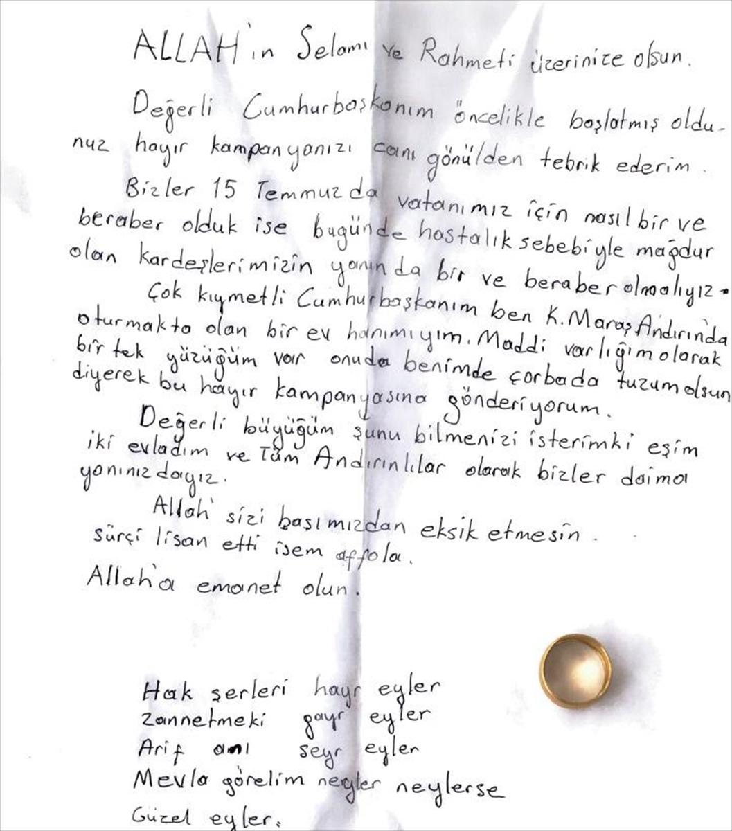Cumhurbaşkanı Erdoğan, Milli Dayanışma Kampanyası'na yüzüğünü gönderen vatandaşla görüştü