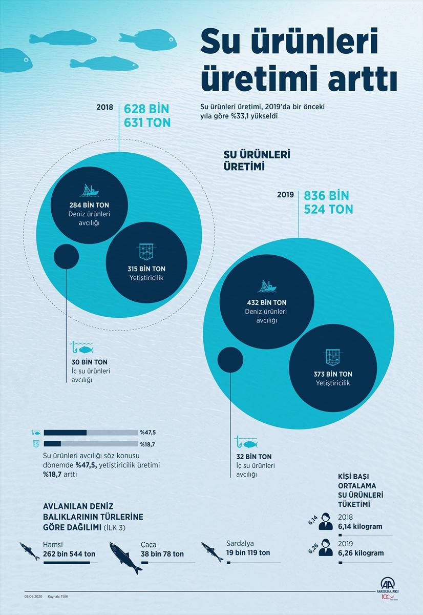 Su ürünleri üretimi arttı