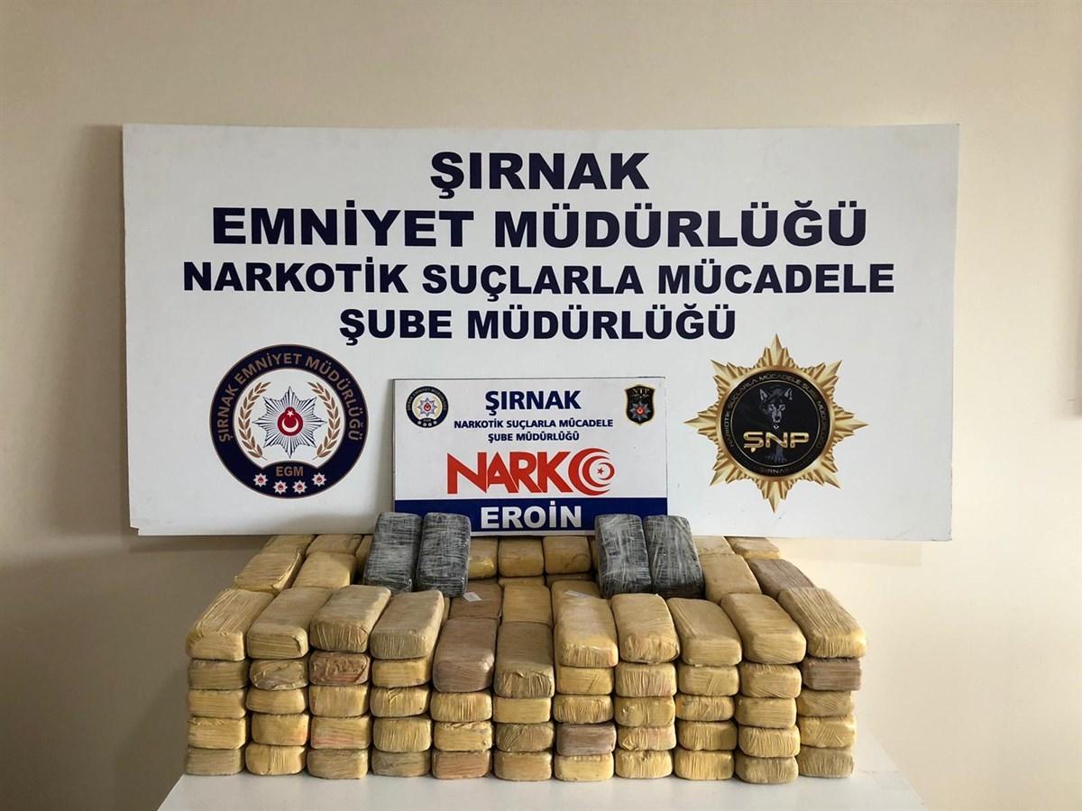 Şırnak'ta 82 kilogram eroin ele geçirildi