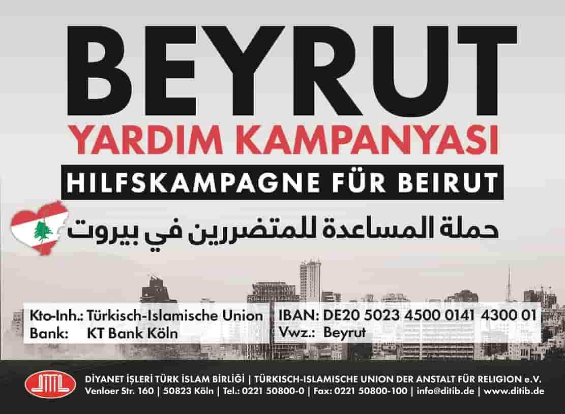 DİTİB, Beyrut'a yardım kampanyası başlattı