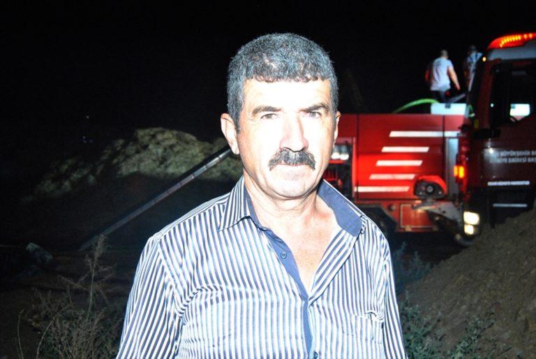 İzmir'de çıkan yangında 3 ton saman yandı
