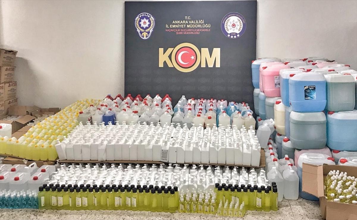 Ankara'da kaçak dezenfektan ve temizlik ürünleri satan kişi yakalandı