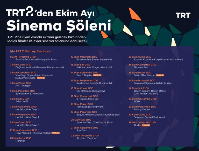 TRT 2 Ekim ayında her akşam farklı bir filmi ekrana getirecek