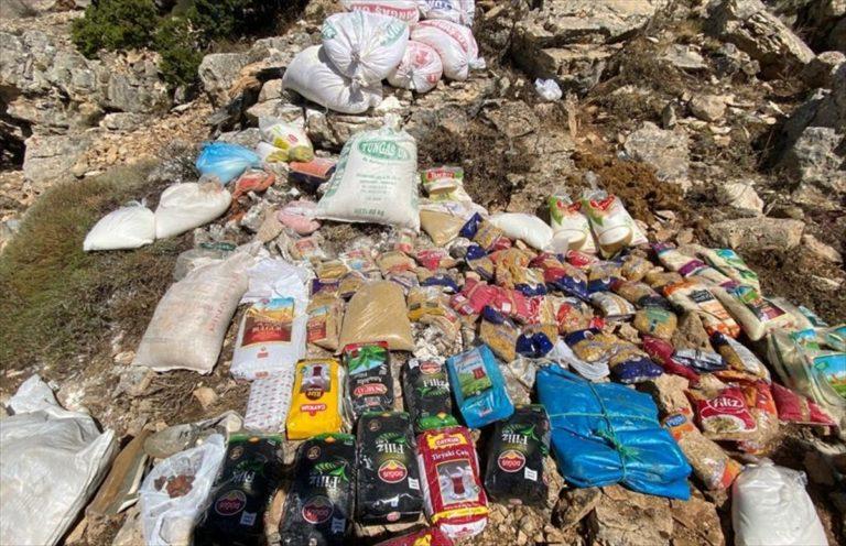 Tunceli'de terör örgütüne ait yaşam malzemesi ele geçirildi