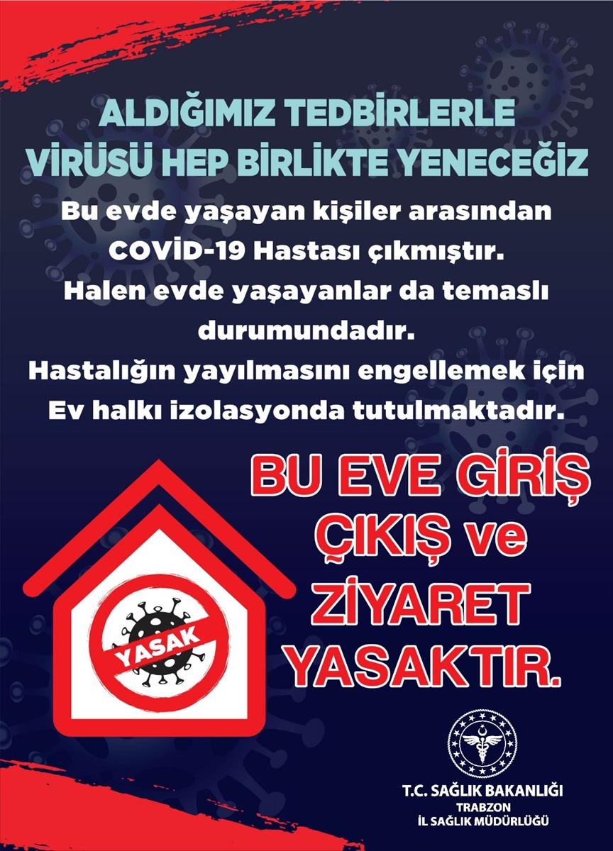 Trabzon'da Kovid-19 vakası görülen binalara uyarı afişi asılacak